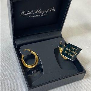 New 14K gold over resin core Macys & Co earrings